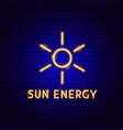 sun energy neon label vector image
