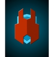 Techno styled shield emblem vector image