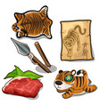 tiger weapon meat skin endangered concept vector image vector image