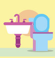 toilet and washbasin faucets cartoon bathroom vector image vector image