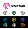 touch fingerprint app logo circle watch colorful vector image