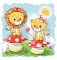 two cute cartoon lions on mushrooms vector image vector image