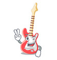 two finger electric guitar in the cartoon shape vector image