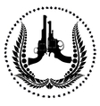 Two revolvers and a wreath vector image