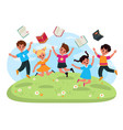 vacation end study jumping children throw vector image