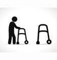 walker disabled black icons vector image vector image