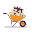 Wheelbarrow full of money vector image