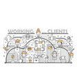 working with clients concept flat line art vector image vector image