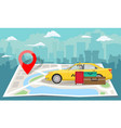 yellow taxi with bags and red pin over folded map vector image vector image