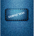 jeans label on jeans background vector image