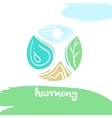 Logo harmony four nature element high mountain vector image