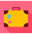 Flat Travel Suitcase with Long Shadow vector image