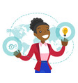 a businesswoman with a lightbulb and a map as vector image