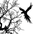 ara and tree black silhouette vector image vector image