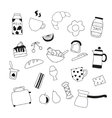 assortment of doodle food for breakfast vector image vector image