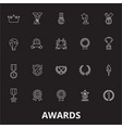 awards editable line icons set on black vector image vector image