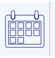 calendar sign navy line icon vector image