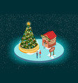 christmas holiday market with evergreen tree vector image