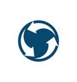 circle arrows rotate negative space logo vector image vector image