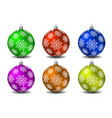 colored christmas balls with snowflakes vector image vector image