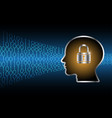 cyber security master key lock human head vector image vector image