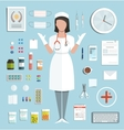 Doctor Standing Ready to Work with Pills vector image