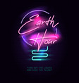 earth hour neon sign vector image