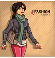 Elegant fashionable lady vector image
