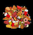 fast food doodle many feed pile sign of meat vector image vector image