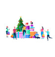 festive people preparing for christmas celebration vector image