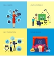Filmmaking Concept 4 Icons Square vector image vector image