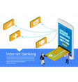 Flat 3d Internet banking banner vector image vector image