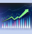 growing financial chart or graph green arrow sign vector image