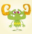 Halloween cute green monster vector image vector image