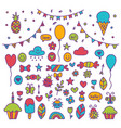 hand drawn party set of celebration objects vector image vector image