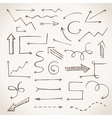 Hand-drawn sketchy arrows in sepia vector image vector image