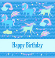 happy birthday holiday card with unicorn flags vector image vector image