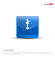 hookah icon - 3d blue button vector image