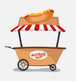 hot-dog seller in cart vector image