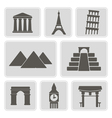 icons with architectural monuments of world vector image vector image