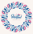 jacobean style flowers floral wreath frame vector image vector image