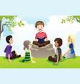 kids studying bible vector image