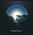 midnight or night landscape with bear on rock vector image vector image