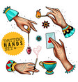 oldschool tattoo hands set vector image vector image