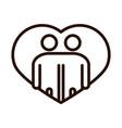 people hugging together inside heart community vector image vector image