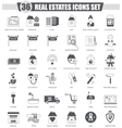Real estates black icon set Dark grey vector image