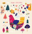 scandinavian christmas bird vector image vector image