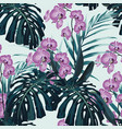 seamless pattern violet orchid flower vector image vector image