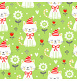 seamless pattern with kittens and flowers vector image vector image