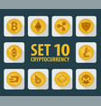 set of 10 flat currency cryptocurrency vector image vector image